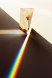 Prism illustrating refraction. A prism illustrating the refraction of white light into the colours of the spectrum stock photography