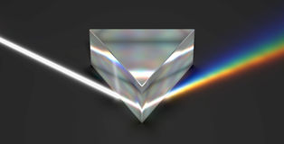 Prism optical rainbow spectrum light ray. 3D rendering image of a triangular prism with realistic physical properties of optics, such as surface reflection Stock Photos