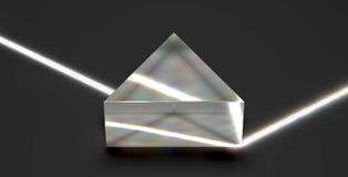 Prism reflecting optical light beam. 3D rendering image of a triangular glass prism showing realistic physical properties (total internal reflection) when light Royalty Free Stock Image