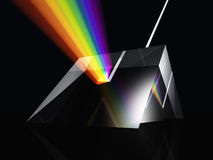 Prism spectrum. White light been split to form a colour spectrum by a glass prism vector illustration
