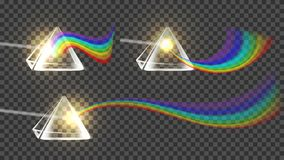 Prism And Spectrum Rainbow Collection Set Vector. Dispersion Of Visible Light Going Through Glass Prism On Temporary Background. Optical Effect Educational stock illustration