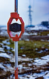 Prism for survey. Used for distance measurement. Focus on prism royalty free stock image
