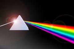 Prisma che rifrange raggio luminoso ai colori Immagini Stock