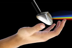Prisma in der Hand Stockfotografie