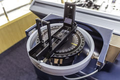 Prismatic compass. Pelorus or dumb compass installed inside a tanker ship used for direction determination and/or bearing royalty free stock photos