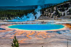 Prismatic Pool. Grand prismatic pool from a hillside in Yellowstone national park Royalty Free Stock Images