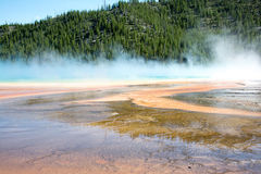 Prismatic Steam. The prismatic springs at Yellowstone National Park. The reflection of the colors in the springs reflected in the steam Royalty Free Stock Images