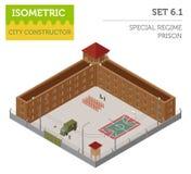 Prisão especial isométrica lisa do regime 3d, cadeia para o const do mapa da cidade Imagens de Stock
