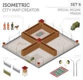 Prisão especial isométrica lisa do regime 3d, cadeia para o const do mapa da cidade Fotografia de Stock