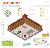 Prisão especial isométrica lisa do regime 3d, cadeia para o const do mapa da cidade Fotografia de Stock Royalty Free