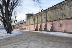 Prison. The road along the walls of the prison during the winter. Russia stock photos