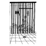 In prison. Illustration of a man behind the bars, black and white version. Useful also for educational or coloring books for kids. You can find other b/w Royalty Free Stock Images