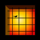 Prison. Concept with bird on the window bars Stock Image