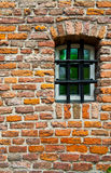 Prison. Green Window of Old Building in Netherlands royalty free stock photo