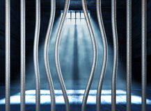 Prison 3d and bended metal bar. Background royalty free stock photo