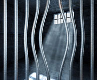 Prison 3d and bended metal bar. Background stock photos