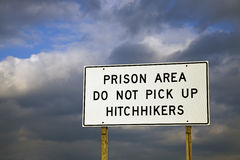 Prison Area - don't pick up hitchhikers Royalty Free Stock Photography