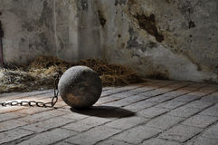 Prison ball. Balls in an old prison cell Stock Photos