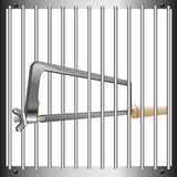 Prison bar and hacksaw Royalty Free Stock Photos