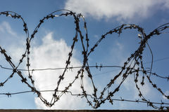 Prison barbed wire. Prison fence. Strict punishment for crimes Royalty Free Stock Photo