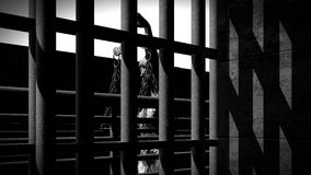 Prison bars and a hallway 3d rendering Stock Image