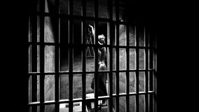 Prison bars and a hallway 3d rendering Stock Photography