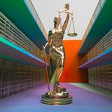 Prison bars and Lady of Justice 3d rendering. Prison bars and Lady of Justice Royalty Free Stock Image