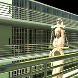 Prison bars and Lady of Justice 3d rendering Royalty Free Stock Photos