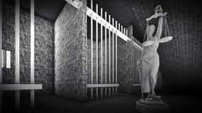 Prison bars and Lady of Justice 3d rendering. Prison bars and a hallway Royalty Free Stock Images