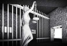 Prison bars and Lady of Justice 3d rendering. Prison bars and a hallway Stock Images