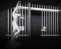 Prison bars and Lady of Justice 3d rendering Stock Images