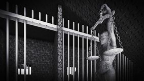 Prison bars and Lady of Justice 3d rendering Royalty Free Stock Image