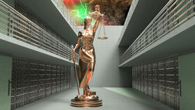 Prison bars and Lady of Justice 3d rendering. Prison bars and a hallway Royalty Free Stock Photos