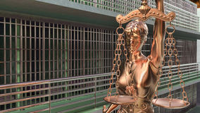 Prison bars and Lady of Justice 3d rendering. Prison bars and a hallway Stock Photo