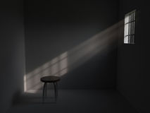 Prison with bars on window stock illustration