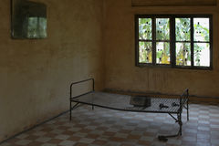 Prison Bed 2. A prison cell in S21 Detention Centre, Cambodia stock photography