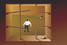 Prison Break. Illustration of a business man escaping from prison Stock Photography