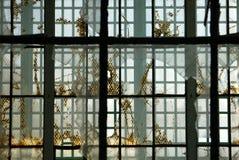 Prison: broken glass steel windows h stock photo