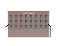 Prison building flat icon. Prison building dark color flat icon on white background. Vector illustration Stock Photography