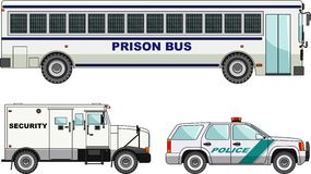Prison bus, security and  police cars  on Royalty Free Stock Photo