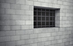 Prison cell barred window. 3d rendering Royalty Free Stock Image
