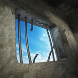 Prison cell with broken prison bars on the window. 3D illustration Royalty Free Stock Photos