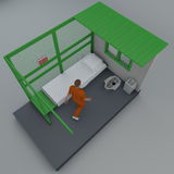 Prison cell in Guantanam. O, Cuba, prisoners. 3d reconstruction Royalty Free Stock Photography