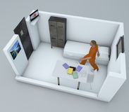 Prison cell, inside a prison cell, 3d rendering Royalty Free Stock Photography
