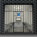Prison cell. Jail interior room interior with window grille and furniture. Vector Illustration stock illustration