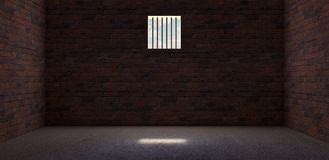 Prison cell with light shining through a barred window 3D Render stock illustration