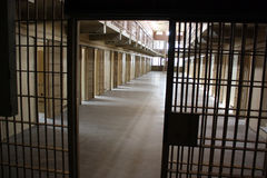 Prison cellblock. A multi-tiered cellblock is seen from the prison guard secured area