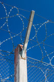 Prison concrete pillar and barbed wire fence Stock Photography