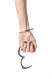 Prison and convicted topic: man hands with handcuffs isolated on Royalty Free Stock Photos