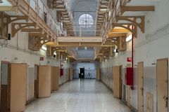 Prison corridor with prison cells. Doors, jail, bar, penitentiary, justice, criminal, old, building, crime, interior, security, metal, prisoner, punishment stock photography